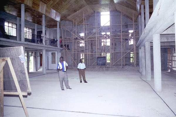 View of new Bomso church under construction - October 2000