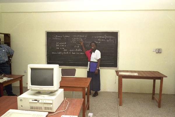 Instructor at Ghana Bible College computer class  October 2000