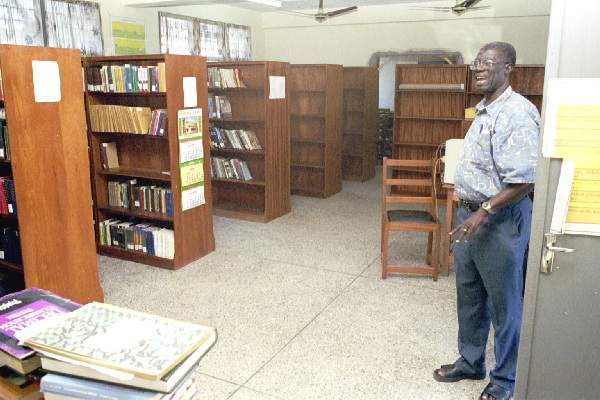 Ghana Bible College library with Dr. Obeng on right - October 2000
