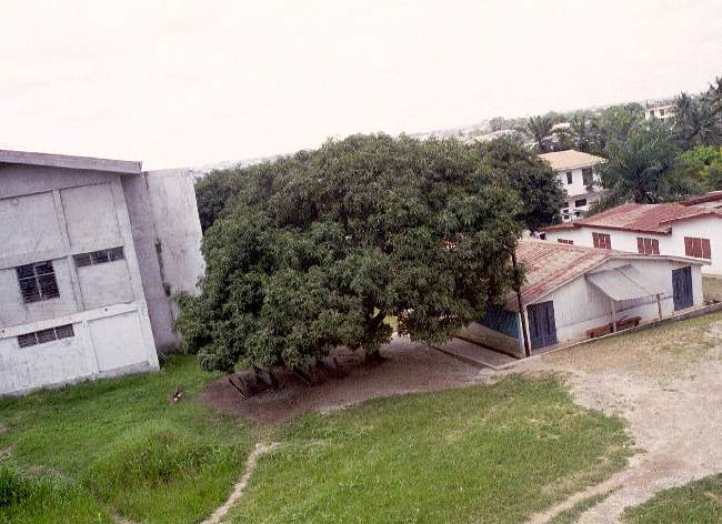 Ghana Bible College main classroom building on the left - October 2000