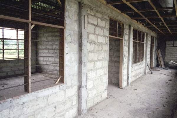 Top floor of the Ghana Bible College classrooms under construction October 2000